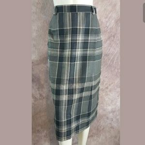 Ralph Lauren Classic Plaid Wool Pencil Wrap Skirt